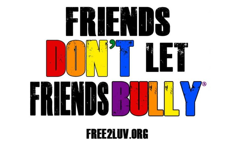 friends don't let friends bully sign. Print rainbow sign