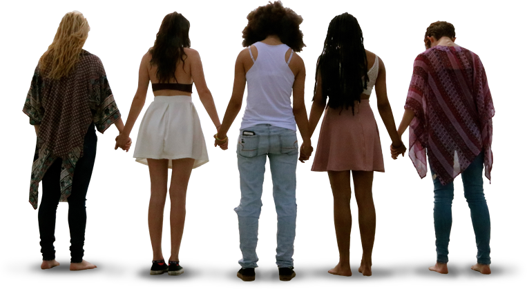 girls and boys standing together holding hands
