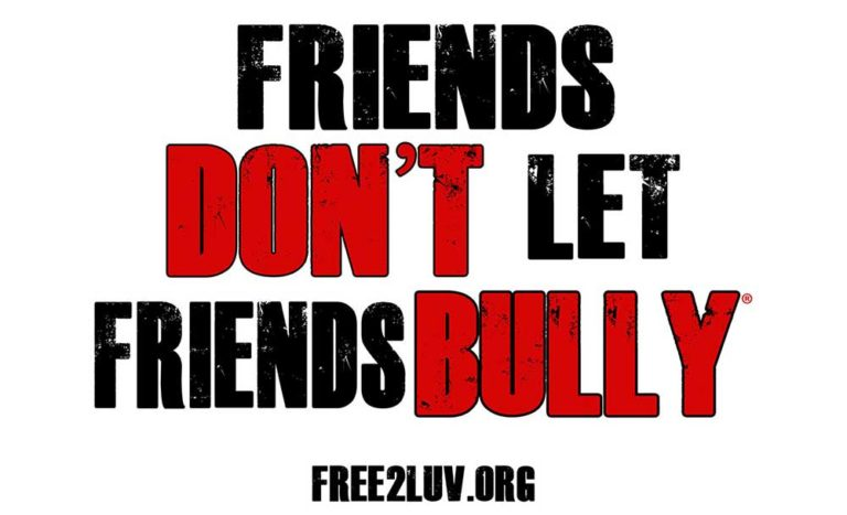 friends don't let friends bully poster. Print sign